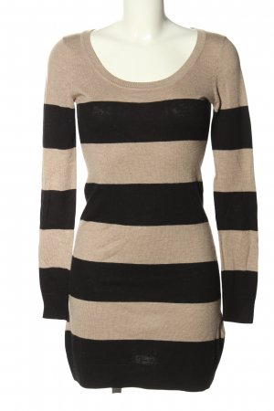 H&M Basic Sweater Dress black-nude striped pattern casual look