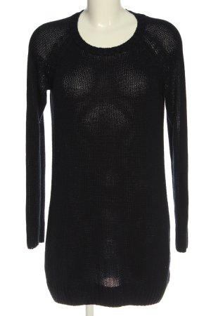 H&M Basic Swetrowa sukienka czarny Warkoczowy wzór W stylu casual