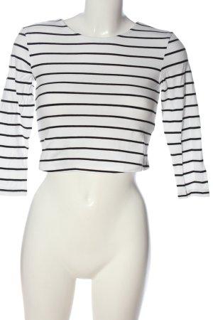 H&M Basic Ringelshirt weiß-schwarz Streifenmuster Casual-Look