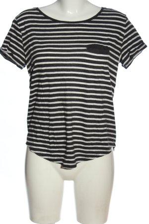 H&M Basic Camisa de rayas negro-blanco moteado look casual