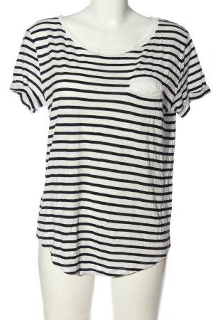 H&M Basic Koszulka w paski biały-czarny Wzór w paski W stylu casual
