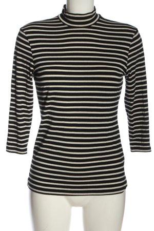 H&M Basic Camisa de rayas blanco puro-negro estampado a rayas look casual