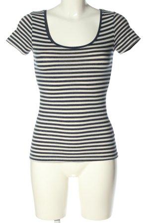 H&M Basic T-shirt rayé blanc-bleu imprimé allover style décontracté