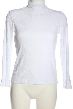 H&M Basic Chemise côtelée blanc style décontracté