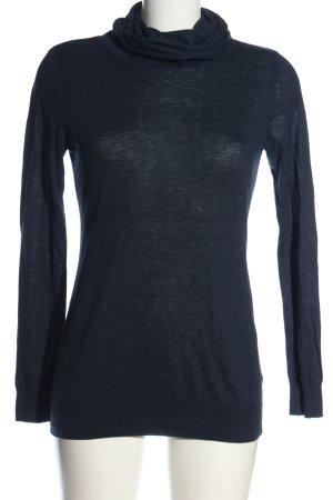 H&M Basic Jersey de cuello alto azul look casual