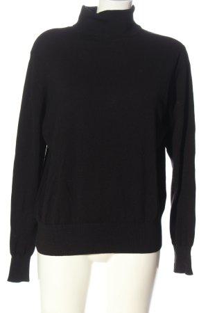 H&M Basic Maglia a collo alto nero stile casual