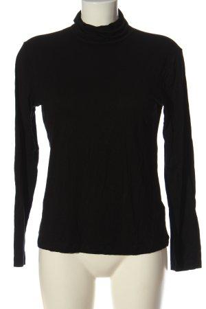 H&M Basic Rollkragenshirt schwarz Casual-Look