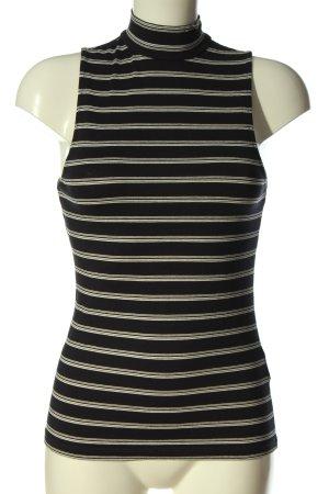 H&M Basic Top con colletto arrotolato nero-bianco motivo a righe stile casual