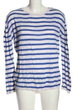 H&M Basic Rundhalspullover blau-weiß Streifenmuster Casual-Look