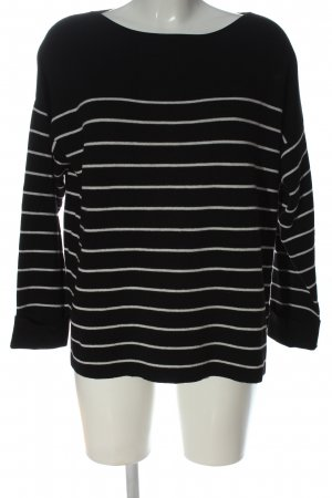 H&M Basic Rundhalspullover schwarz-weiß Streifenmuster Casual-Look