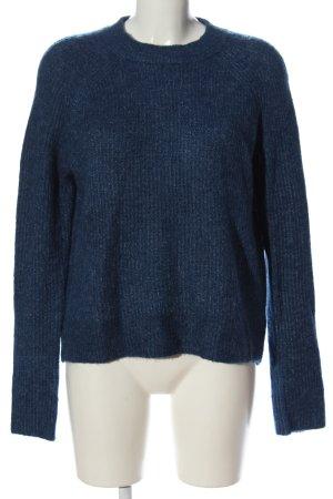 H&M Basic Rundhalspullover blau meliert Casual-Look