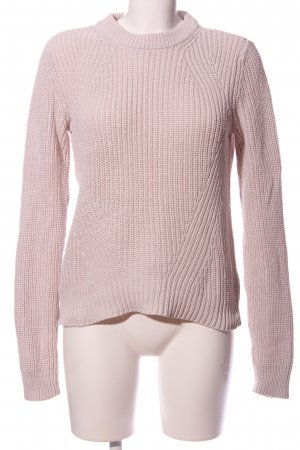 H&M Basic Rundhalspullover pink Zopfmuster Casual-Look