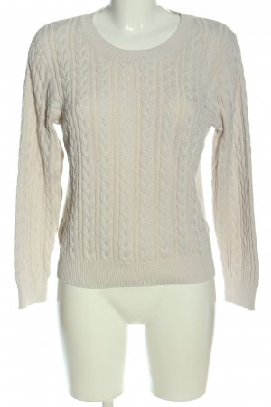 H&M Basic Rundhalspullover wollweiß Zopfmuster Casual-Look