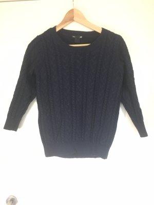 H&M Basic Jersey trenzado azul oscuro