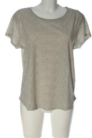H&M Basic Schlupf-Bluse creme-schwarz Allover-Druck Casual-Look