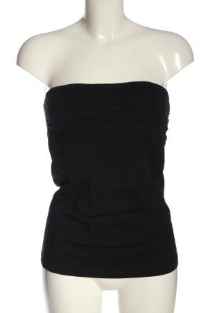 H&M Basic schulterfreies Top schwarz Casual-Look