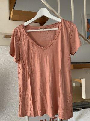H&M Basic Shirt V-Ausschnitt mit mattem Glanz