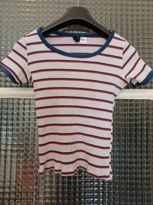 H&M Basic Shirt [Weiß-Blau-Rot, gestreift, Gr. XS]