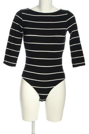 H&M Basic Shirtbody zwart-wit gestreept patroon casual uitstraling
