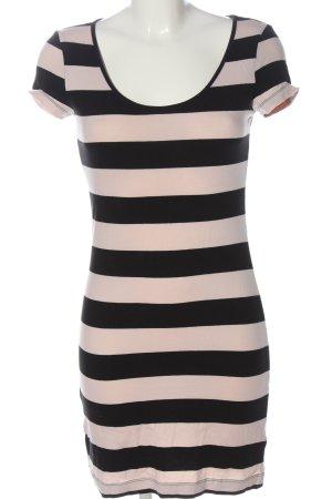 H&M Basic Shirtkleid pink-schwarz Streifenmuster Casual-Look