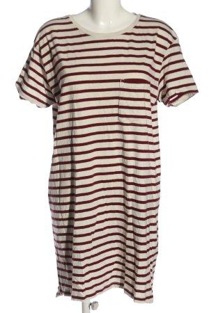 H&M Basic Robe t-shirt rouge-blanc cassé motif rayé style décontracté