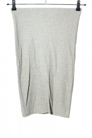 H&M Basic Stretch Skirt light grey striped pattern casual look
