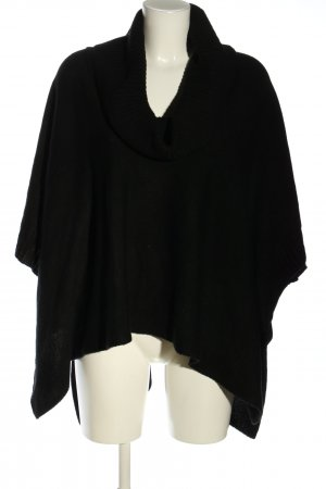 H&M Basic Knitted Poncho black business style