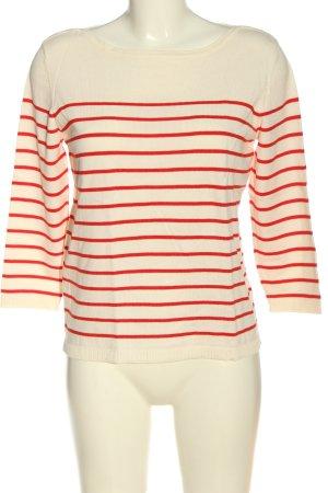 H&M Basic Strickpullover wollweiß-rot Streifenmuster Elegant