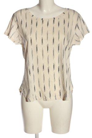 H&M Basic T-Shirt wollweiß-schwarz Allover-Druck Casual-Look
