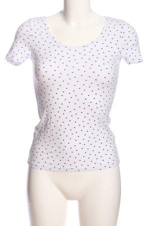 H&M Basic T-Shirt weiß-blau Allover-Druck Casual-Look