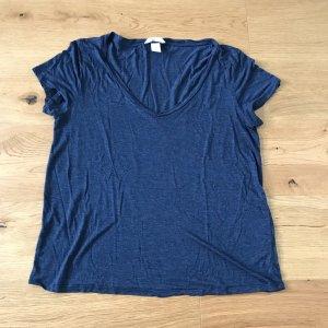 H&M Basic T Shirt mit V-Ausschnitt blau Größe M