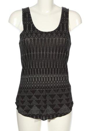 H&M Basic Top schwarz-weiß Allover-Druck Casual-Look