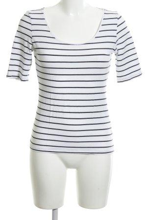 H&M Basic Top weiß-schwarz Streifenmuster Casual-Look