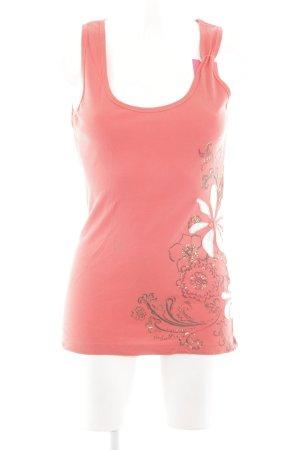H&M Basic Top pink-weiß Blumenmuster Casual-Look