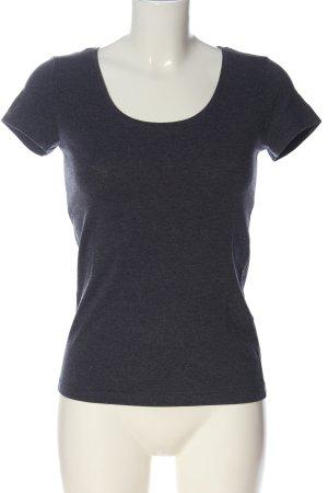 H&M Basic U-Boot-Shirt blau meliert Casual-Look
