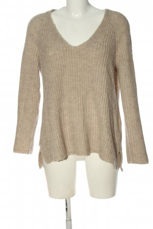 H&M Basic V-Ausschnitt-Pullover creme Zopfmuster Casual-Look