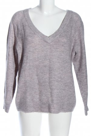 H&M Basic V-Ausschnitt-Pullover hellgrau meliert Casual-Look