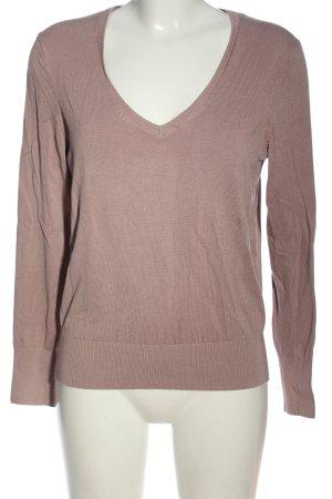H&M Basic V-Ausschnitt-Pullover braun Casual-Look