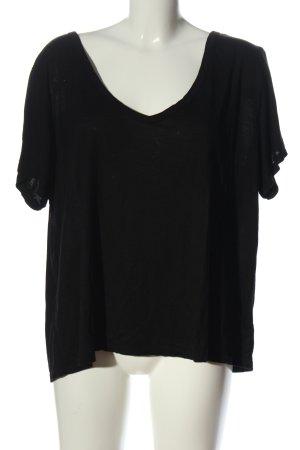 H&M Basic Camisa con cuello V negro look casual