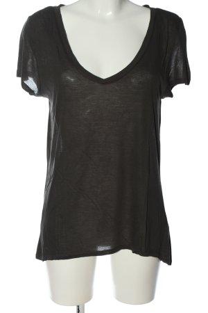 H&M Basic V-Ausschnitt-Shirt schwarz Casual-Look