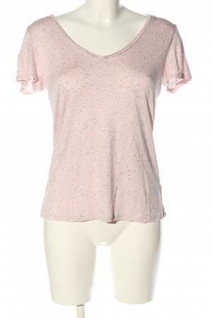 H&M Basic V-hals shirt roze gestippeld casual uitstraling