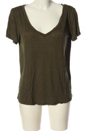 H&M Basic V-Ausschnitt-Shirt khaki Casual-Look
