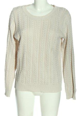 H&M Basic Maglione intrecciato bianco sporco punto treccia stile casual