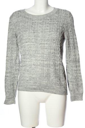 H&M Basic Warkoczowy sweter jasnoszary Melanżowy W stylu casual