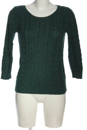 H&M Basic Warkoczowy sweter zielony Warkoczowy wzór W stylu casual