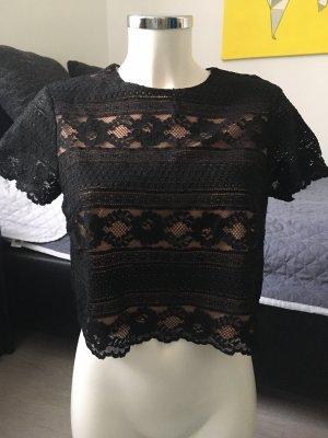 H&M bauchfreies Tshirt Crop Top schwarz mit Spitze