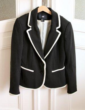 H&M Baumwoll-Blazer Jackett 36 schwarz-weiß