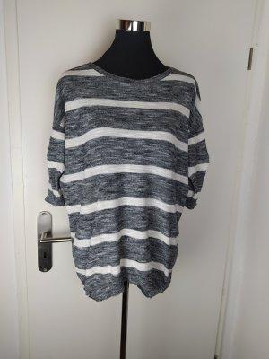 H&M Baumwoll Feinstrick Pullover, Grau-Weiß, 36