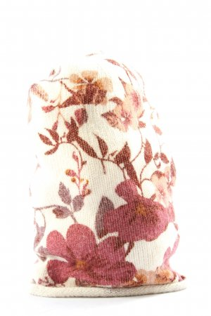 H&M Czapka typu beanie biały-różowy Wzór w kwiaty W stylu casual