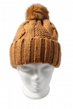 H&M Beanie brown cable stitch casual look
